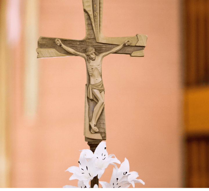 Crucifix with lillies beneath